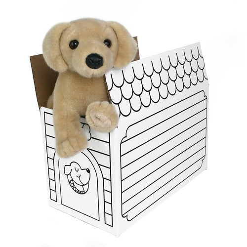 Yellow Labrador + Dog House Box