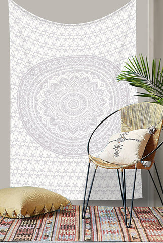 Original Silver Ombre Mandala Tapestry Unique Collection By Rawyal Crafts , Hippie Wall Hanging Tapestries ,Twin Mandala tapestry wall hanging ,Throw Bedspread