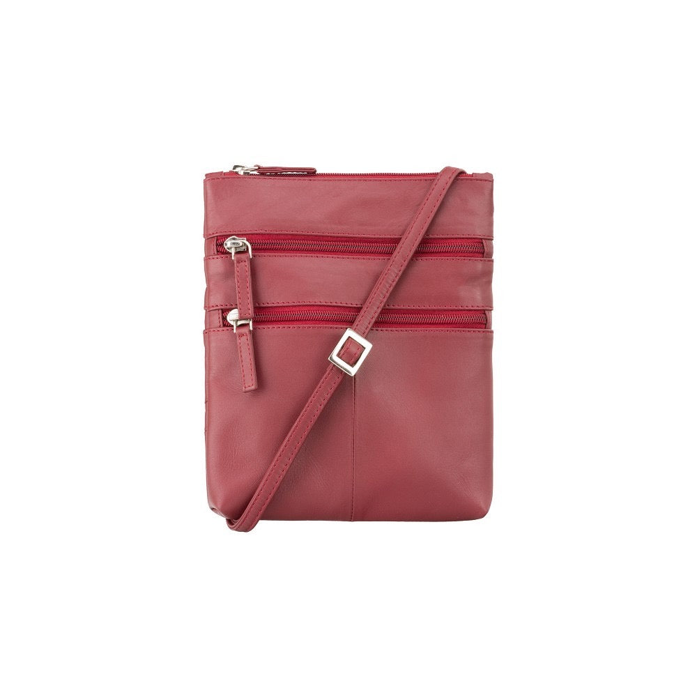 Visconti Across Body Slim Sling Red Leather Bag