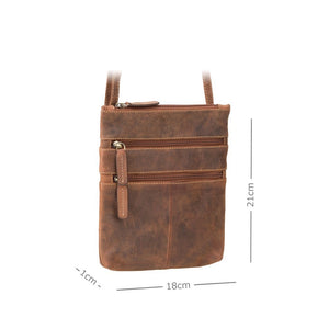 Visconti Across Body Slim Sling Oil Tan Leather Bag