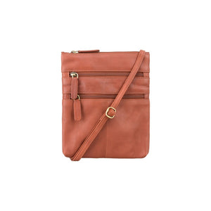 Visconti Across Body Slim Sling Leather Bag - Brown