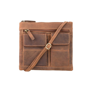 Visconti Across Body Slim Sling Pocketed Oil Tan Leather Bag