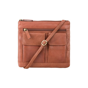 Visconti Across Body Slim Sling Pocketed Leather Bag - Brown