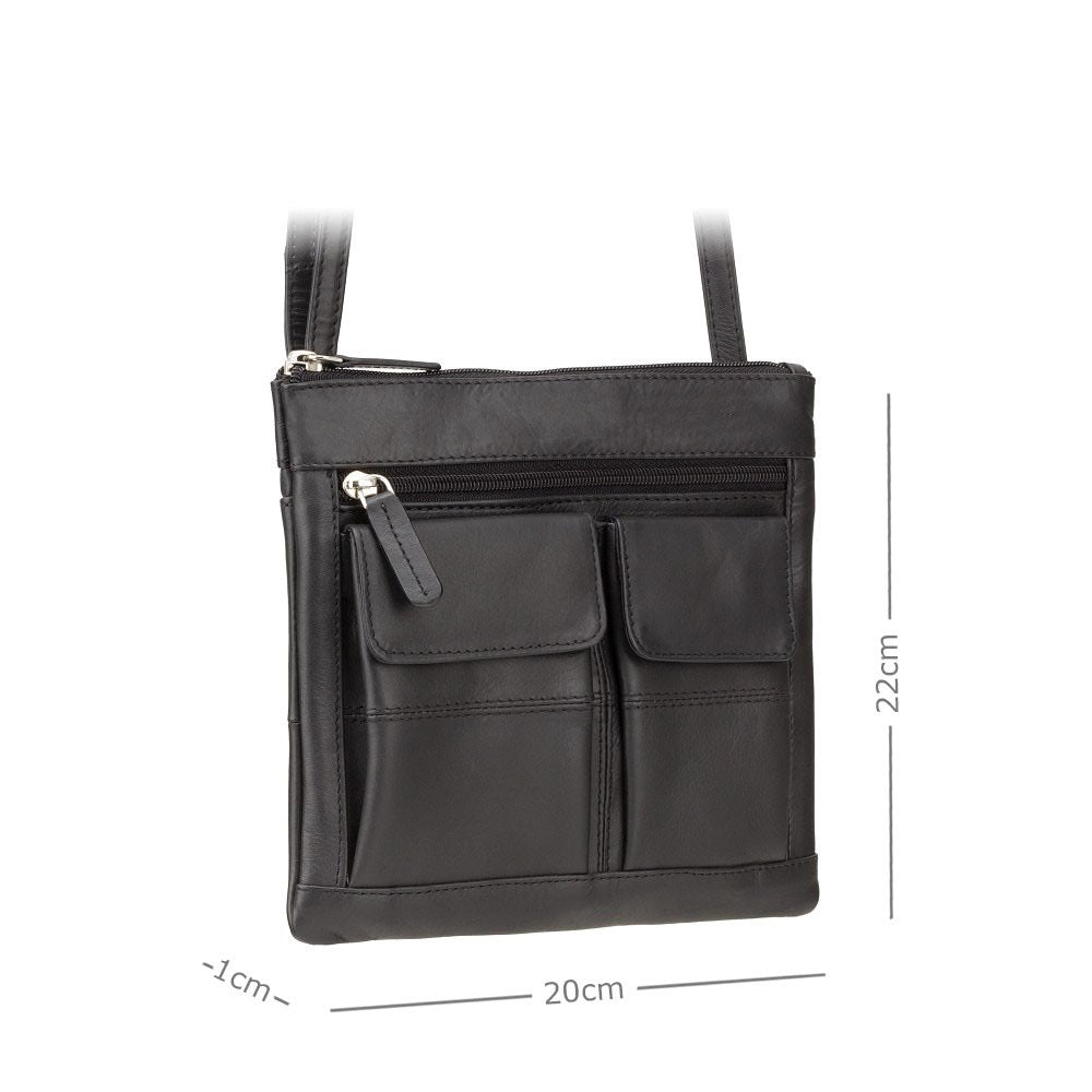 Visconti Across Body Slim Sling Pocketed Leather Bag - Black