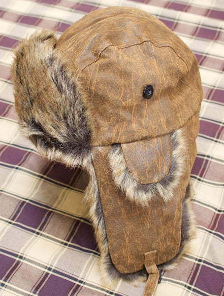 Eureka Brown Leather Trapper Hat