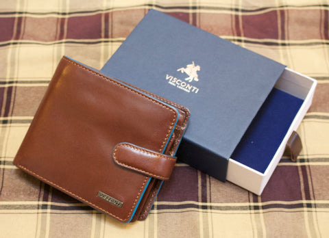 Visconti Brown Gents Alp Studded Leather Wallet