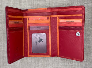 Visconti (Bora) Ladies Two Tone Red Leather Purse