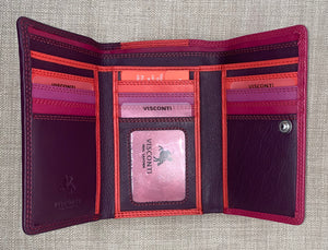Visconti (Bora) Ladies Two Tone Plum Leather Purse