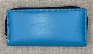 Visconti Ladies Leather Two Tone Blue Coloured Purse - Long