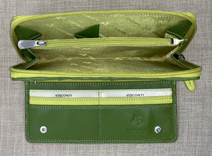 Visconti Ladies Long Two Tone Lime Leather Purse