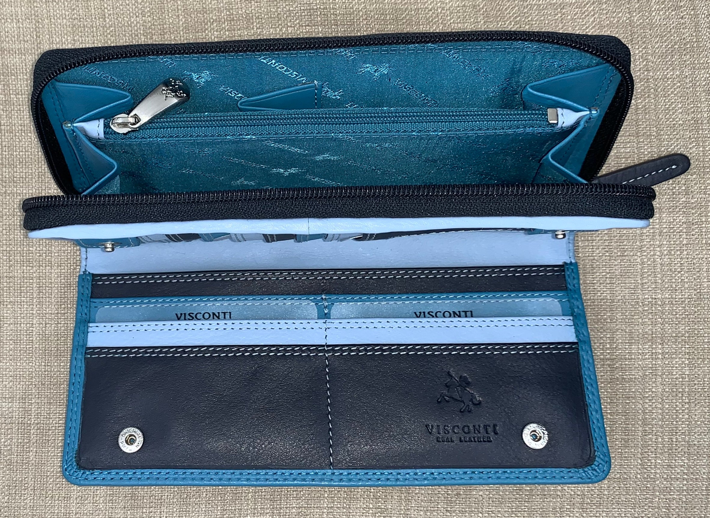 Visconti Ladies Long Two Tone Blue Leather Purse