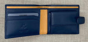 Visconti Gents Blue/Mustard Studded Leather Wallet
