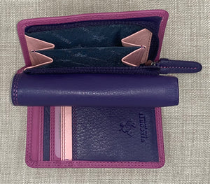 Visconti Biola Ladies Leather Two Tone Berry Coloured Purse