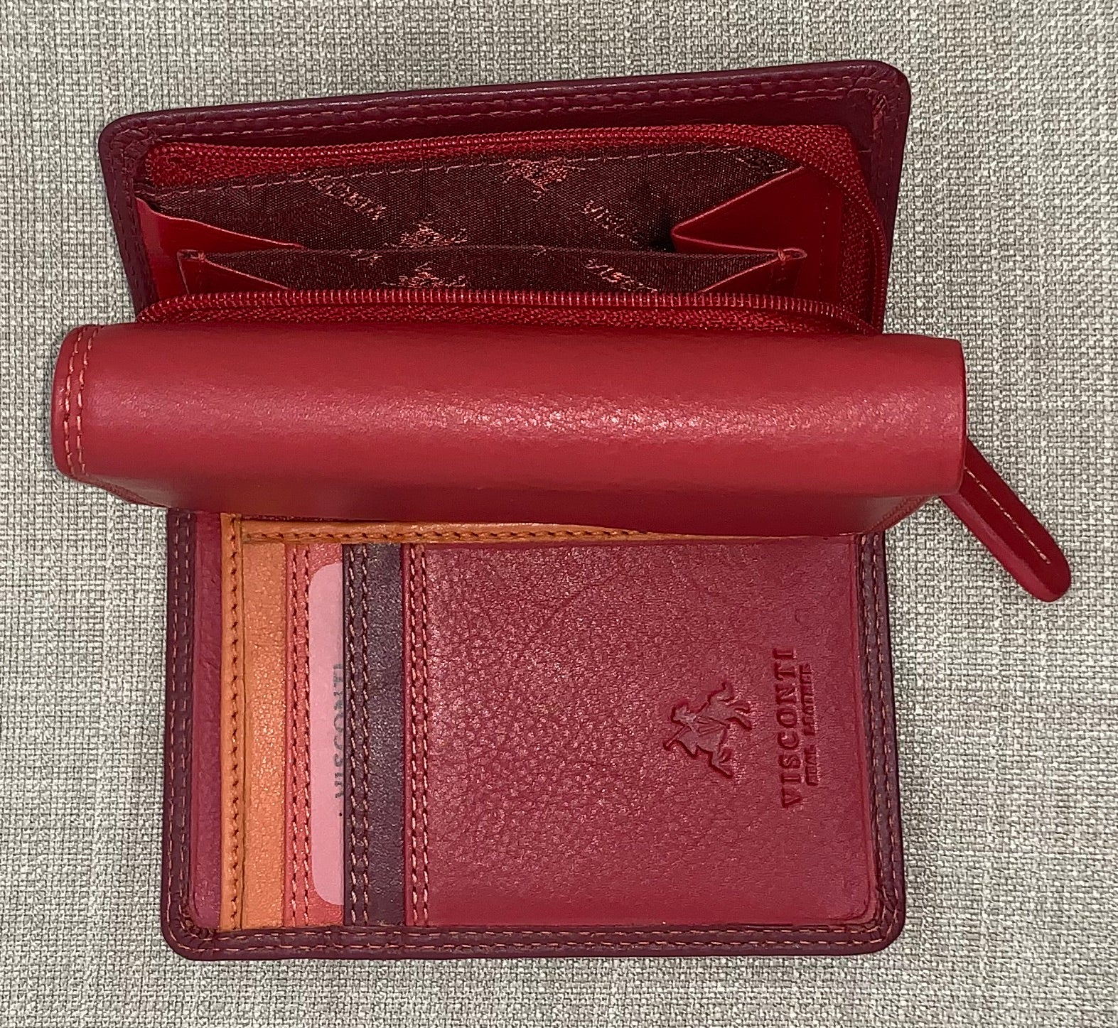 Visconti (Biola) Ladies Two Tone Red Leather Purse