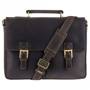 Visconti Leather Briefcase - Oil Brown