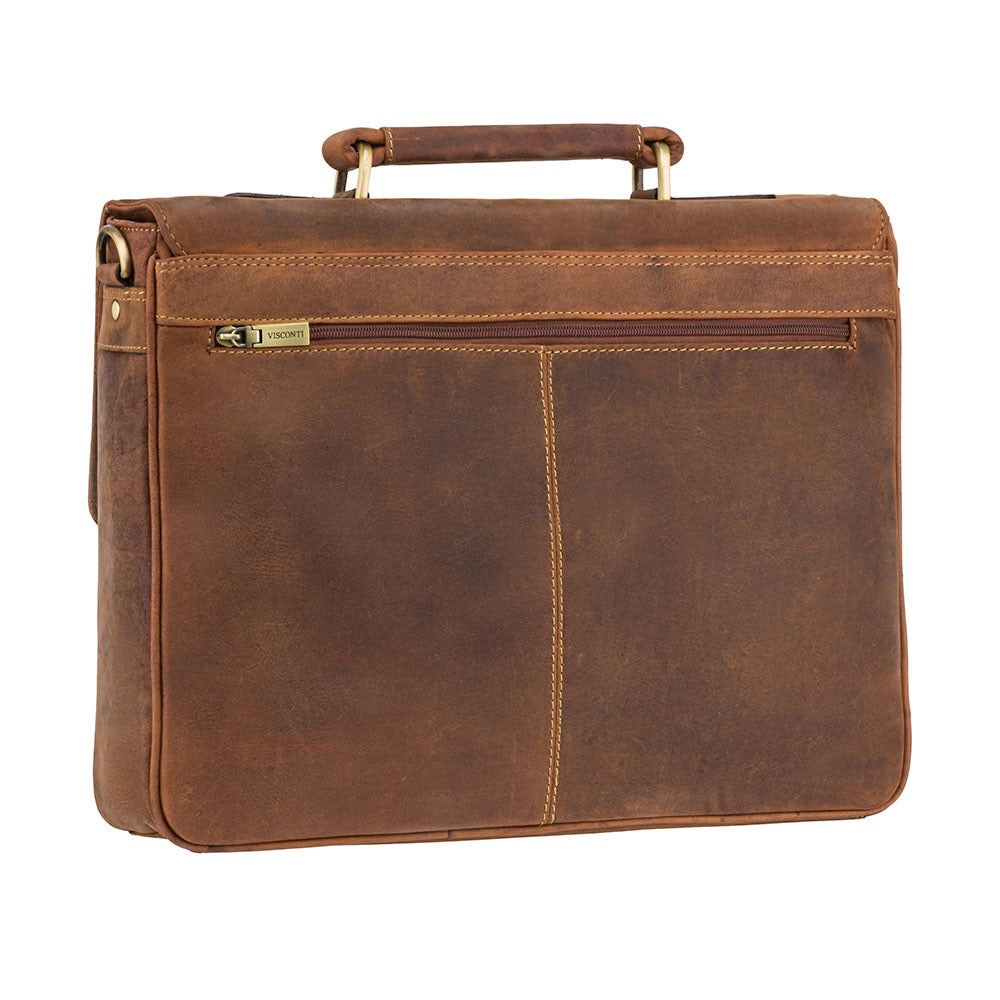 Visconti Oil Tan Leather Briefcase