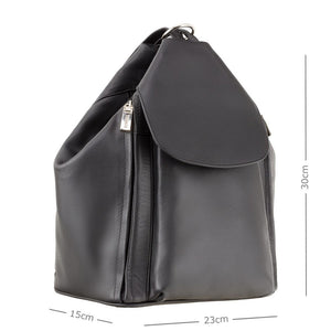 Visconti Ladies Black Leather Backpack | Shoulder Bag