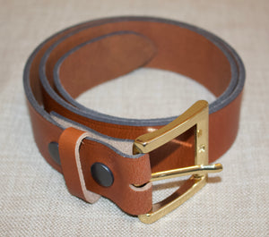 Birchwood Leather Tan 100%  Heavy Duty Hide Leather Belt.