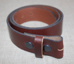Birchwood Leather Stud Operated Brown 100% Heavy Duty Hide Leather Belt (Without Buckle)