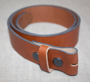 Birchwood Leather Stud Operated Tan 100% Heavy Duty Hide Leather Belt (Without Buckle)