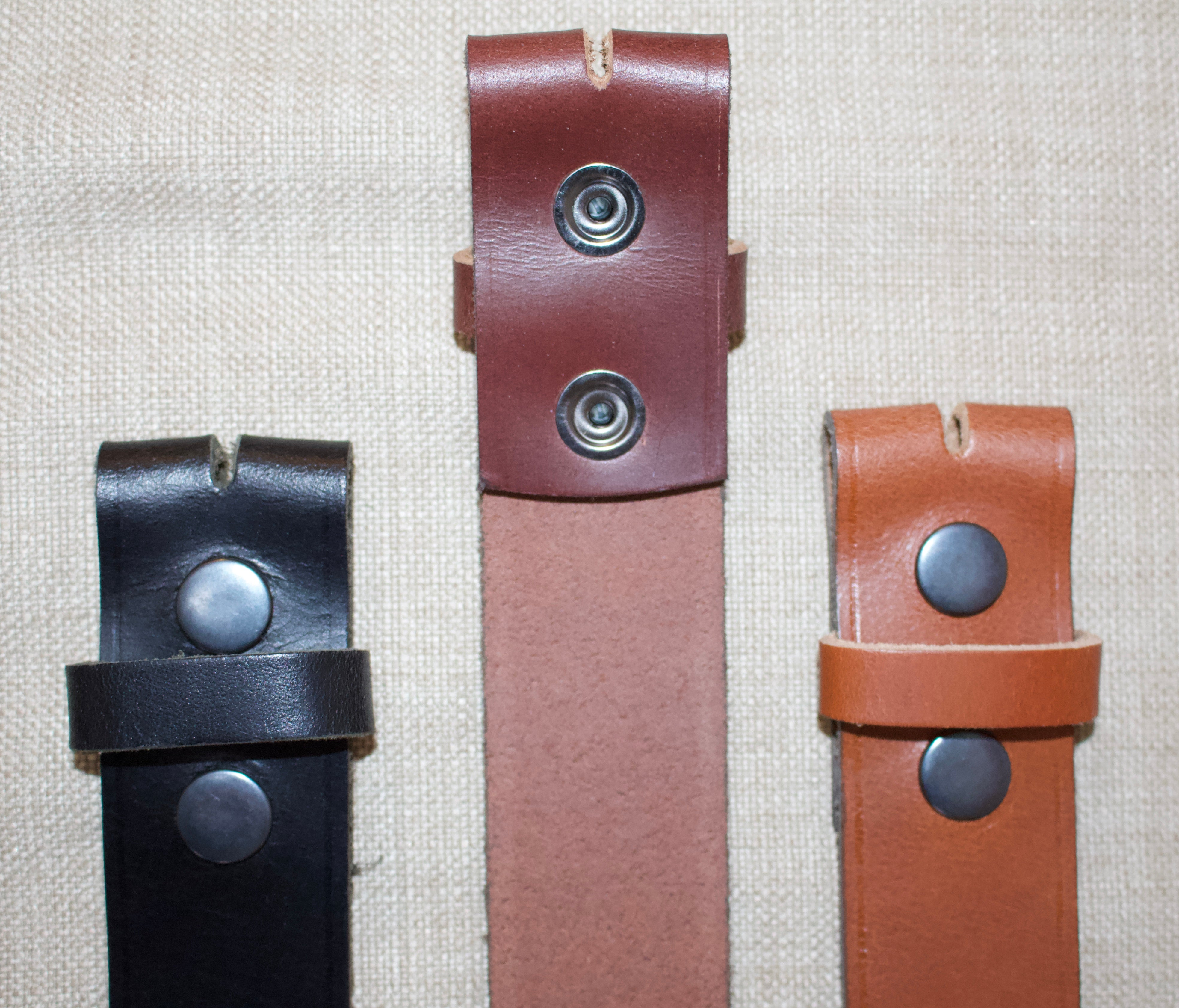 Birchwood Leather 100% Heavy Duty Hide Leather Belt. Black, Brown or Tan (Without Buckle)