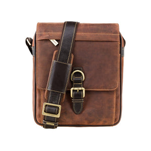 Visconti (Link) A5 Portrait Oil Tan Leather Messenger Bag