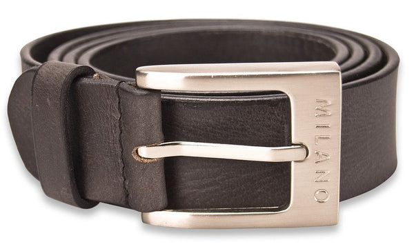 Milano 100% Full Grain Leather Belt, Black or Brown