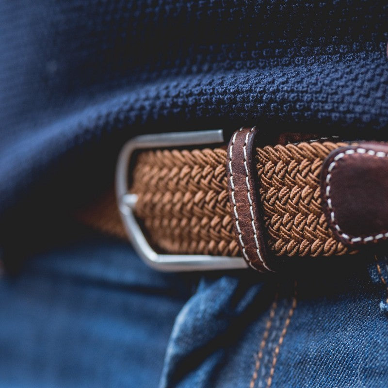 Premium Camel Brown Woven Elastic Stretch BillyBelt Belt