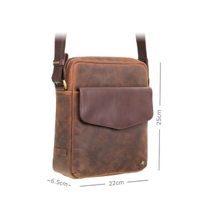 Visconti A5 Havana Tan Leather Messenger Bag