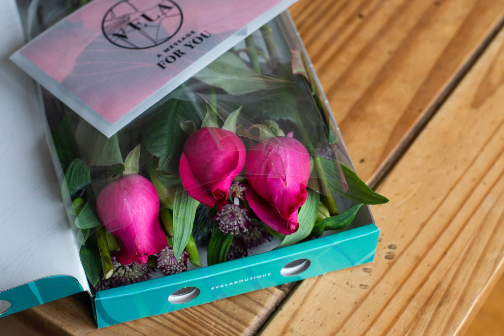 A box of Vela letterbox flowers