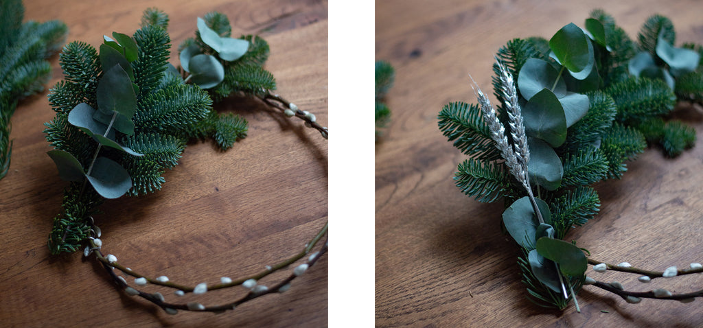 Creating a fresh pine Christmas wreath