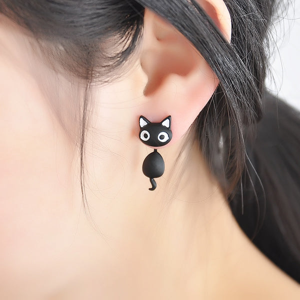 Black and White Cute Kitten Cat Stud Earrings Jewelry