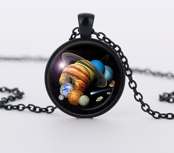 Solar System Planet Pendant Astronomy Space Jewelry Necklace
