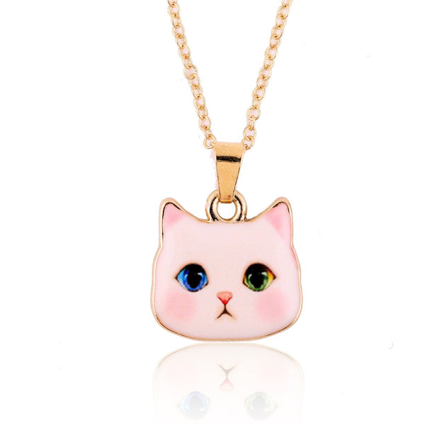 2016 Bohemian New Arrival Colorful Cute Animal Necklace Pitiful White Cat Head Necklaces for Women Fashion Lovers Jewelry