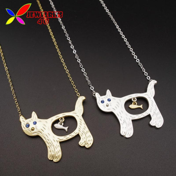 2016 Cute Lovely Cat Eat Fish Pendant Necklace - Women's Fashion Popular Animal Jewelry