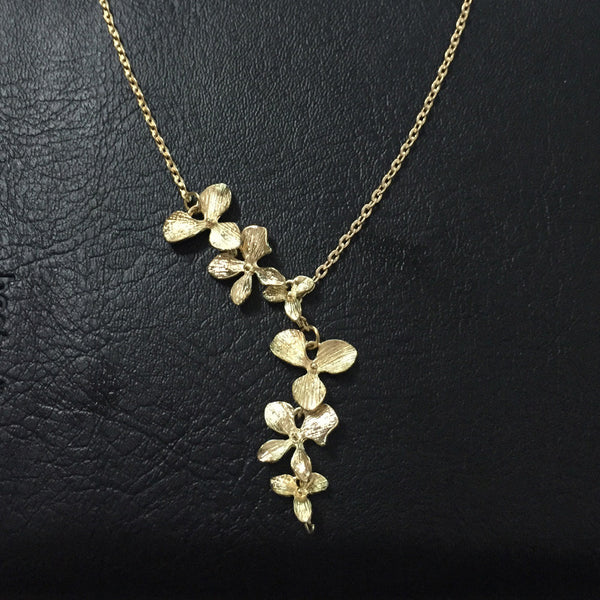 Women Flower Orchid Pendant Necklace