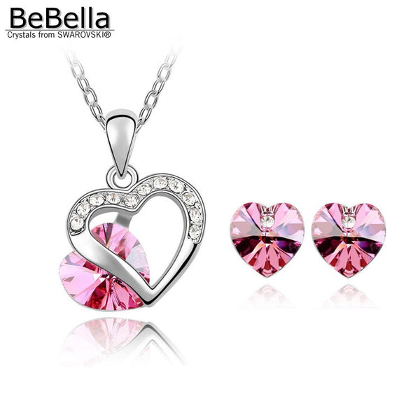 Swarovski Element heart and crystal necklace earring set