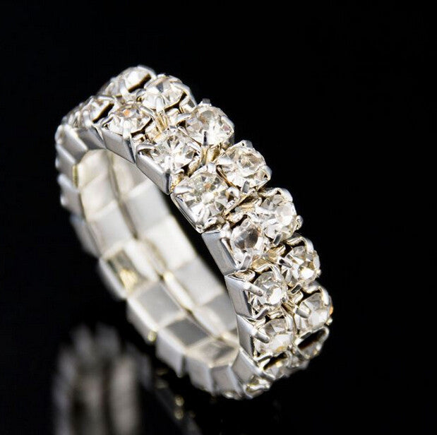 24pcs/lot Free shipping~ Flexibility double row Full drill Ring,Fashion Jewelry shining Finger Ring personality