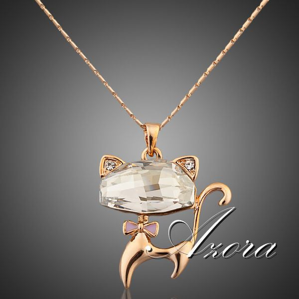 Azora Stellux Austrian Crystals Lovely Cat Pendant Necklace