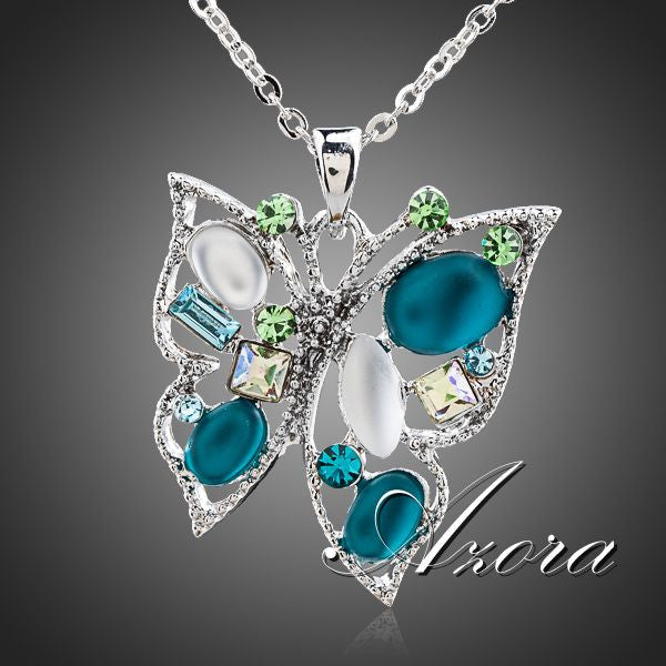 AZORA Multicolor Stellux Austrian Crystal Butterfly Jewelry Pendant Necklace