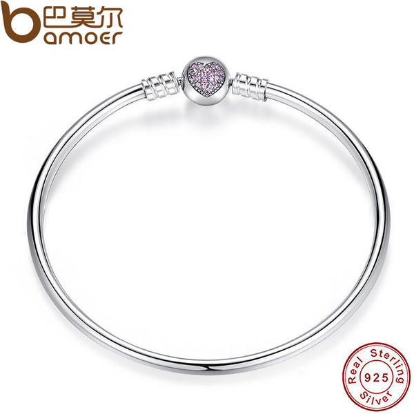 BAMOER Authentic 100% 925 Sterling Silver Snake Chain Heart Bangle & Bracelet Luxury Jewelry