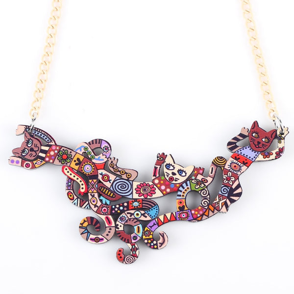 Acrylic Brand 2016 New Pendant Bonsny Cat Necklace