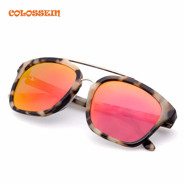 COLOSSEIN Orange Label Vintage Fashion Unisex Sunglasses Light Acetate Frame With Polarized Lenses 100%UV Protection