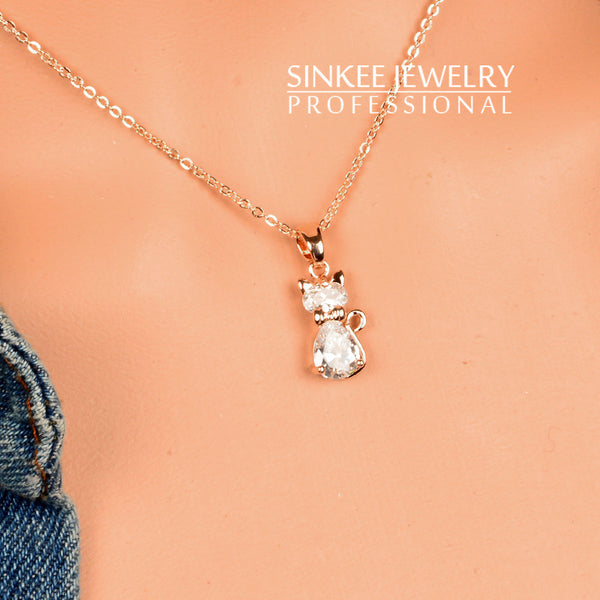 Charm White Cubic Zircon Cat Animal Pendant Necklace For Women