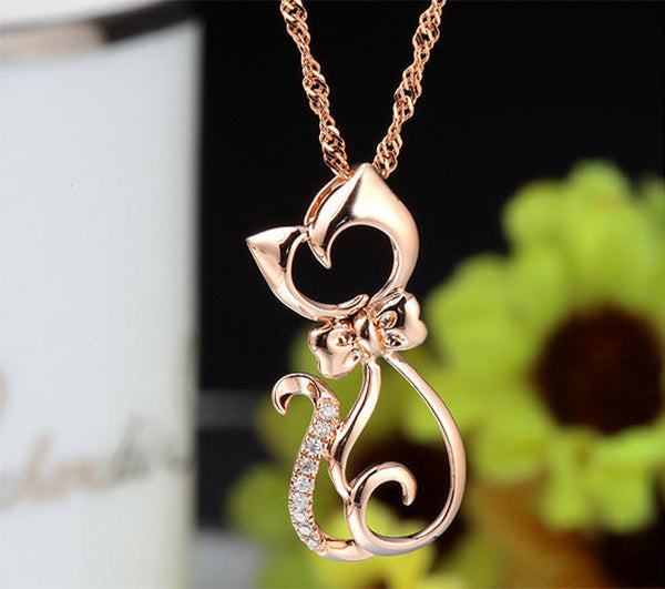 DALI Latest Pendant Necklace Elegant for Women With Paved CZ Crystal Cute Cat Necklace Best Gift for Birthday Jewelry PN61