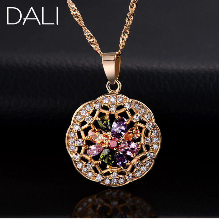 DALI Women Vintage Beautiful Flower Necklace Jewelry Colorful Zircon Crystal Pendant Necklace