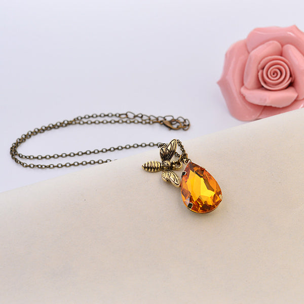 Dainty Petite Simple Bronze Chain Honey Bee Topaz Crystal Pendant Necklace Bee Jewelry Bee Keeper Bee Lover Gifts