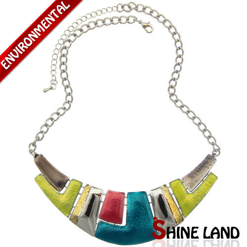 Ethnic Colorful Enamel Chunky Choker Channel Necklace