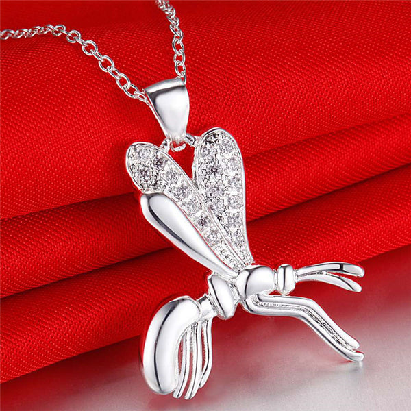 Charm silver Bee pendant necklace with zircon