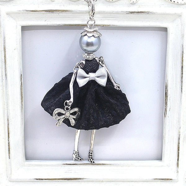 Cute Yarn Cloth Bowknot Dress Doll Necklace Women Jewelry stores